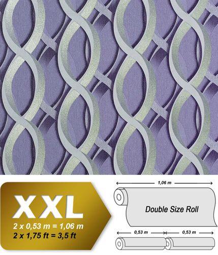 Carta da parati XXL EDEM 601-92 non tessuta disegno grafico astratto a catene 3D retrò lilla grigio argento 10,65 qm – Bild 1