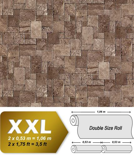 Cubes natural brick wallpaper wall EDEM 957-26 Wall covering non-woven textured stone decor brown-grey XXL roll – Bild 1
