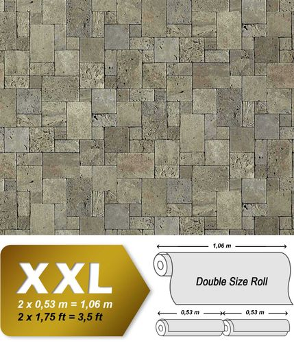 Cubes natural brick wallpaper wall EDEM 957-27 Wallcovering non-woven textured stone decor stone-grey XXL roll – Bild 1