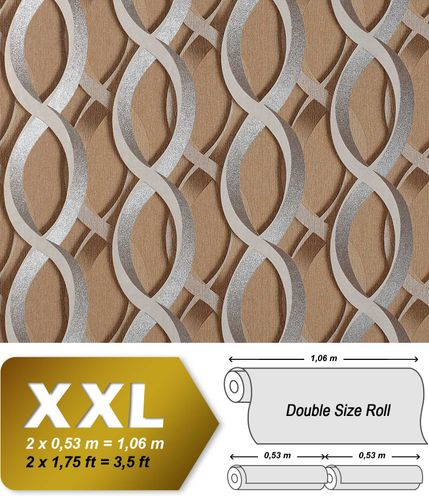 3D graphical wall wallpaper wallcovering non-woven EDEM 601-91 chain retro pattern brown silver grey XXL – Bild 1