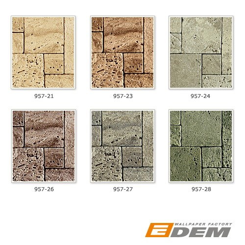 Cubes natural brick wallpaper wall EDEM 957-28 Wallcovering non-woven textured stone decor green-grey XXL roll – Bild 6