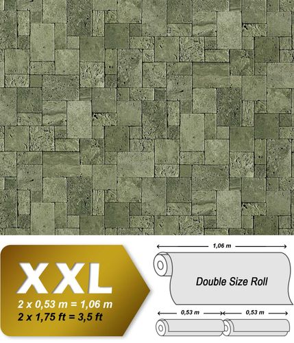 Cubes natural brick wallpaper wall EDEM 957-28 Wallcovering non-woven textured stone decor green-grey XXL roll – Bild 1