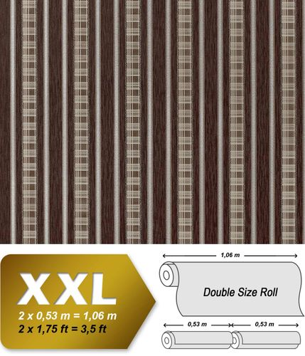 Papel pintado no tejido XXL EDEM 640-94 de aspecto cortina a rayas color chocolate marrón bronce plata 10,65 m2 – Imagen 1