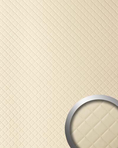 Wandpaneel Leder Design Karo Muster WallFace 13863 ROMBO Wandplatte Wandverkleidung selbstklebend creme | 2,60 qm – Bild 1