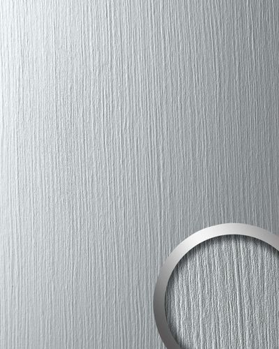 Panel decorativo autoadhesivo Optica de metal WallFace 12447 DECO SILVER mate con estructura gris claro 2,60 m2 – Imagen 1