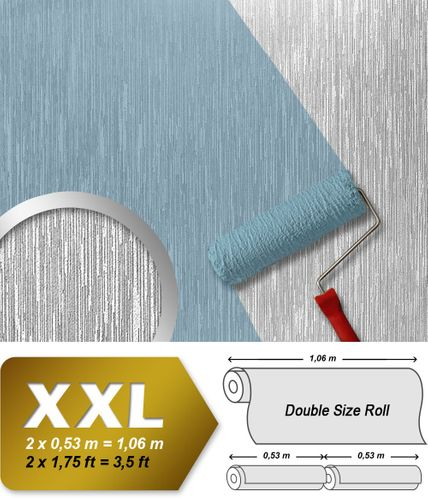 Wallpaper paintable non-woven wall covering EDEM 373-60 textured striped deco white  – Bild 1