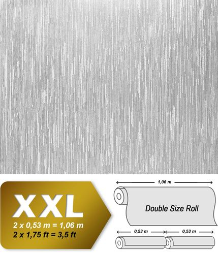 Wallpaper paintable non-woven wall covering EDEM 373-60 textured striped deco white  – Bild 2