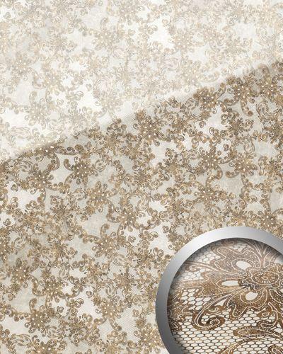 Wandpaneel Glas-Optik Französiche Spitze Muster WallFace 17839 LACE Wandverkleidung selbstklebend weiß braun | 2,60 qm – Bild 1