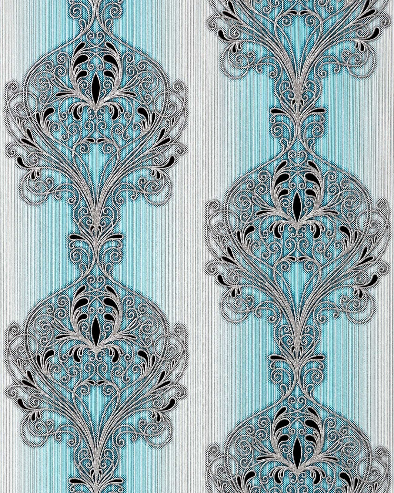 edem 096 22 tapete barock damask ornament designs t rkis blau silber schwarz ebay. Black Bedroom Furniture Sets. Home Design Ideas
