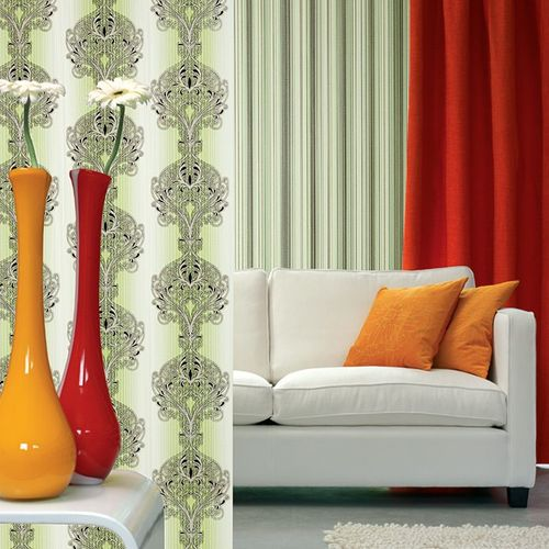 Baroque damask wall covering EDEM 096-25 Wallpaper modern opulent ornament green white silver black  – Bild 4