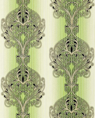 Baroque damask wall covering EDEM 096-25 Wallpaper modern opulent ornament green white silver black  – Bild 1