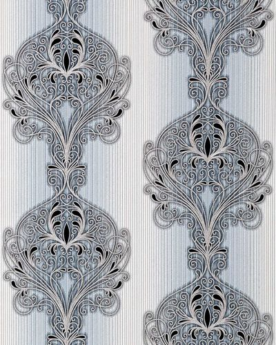 Baroque damask wall covering EDEM 096-26 Wallpaper modern opulent ornament light blue white silver black  – Bild 1