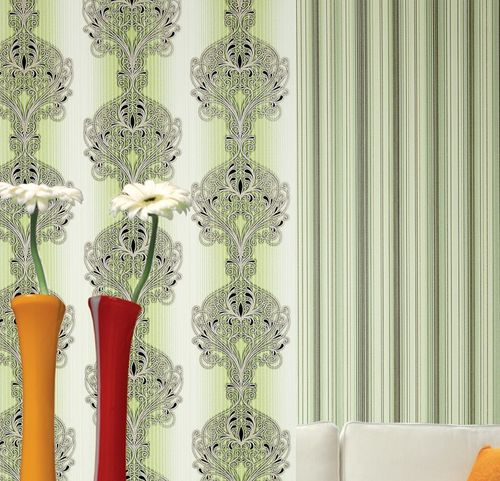 Wallcovering vinyl stripes wallpaper wall EDEM 097-25 sumptuous stripes modern and noble green white silver black  – Bild 4