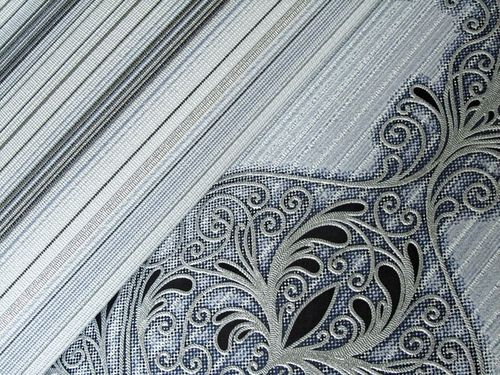 Papier peint en vinyle dessin àrayures splendides EDEM 097-26 et moderne précieux bleu gris blanc argent noir | 5.33 m2 – Bild 3