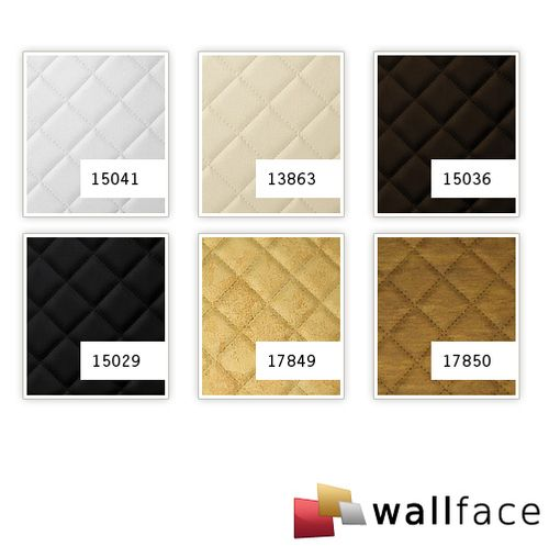 1 PIEZA DE MUESTRA S-17849-SA WallFace ROMBO 40 ANTIGUA GOLD Leather Collection | Muestra panel decorativo en tamaño aprox DIN A4 – Imagen 3