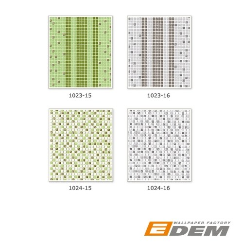 Washable vinyl mosaic wall wallpaper wallcovering EDEM 1024-15 tile stone decor textured white green gold – Bild 6