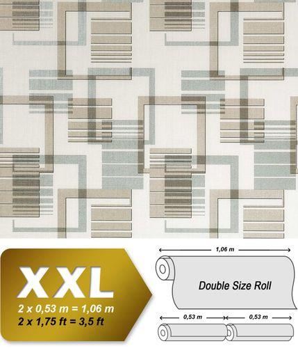 Grafische Muster Retro Tapete Vliestapete EDEM 609-93 XXL Grafische 70er 3D Muster retro abstrakt beige braun silber-grau creme 10,65 qm – Bild 1
