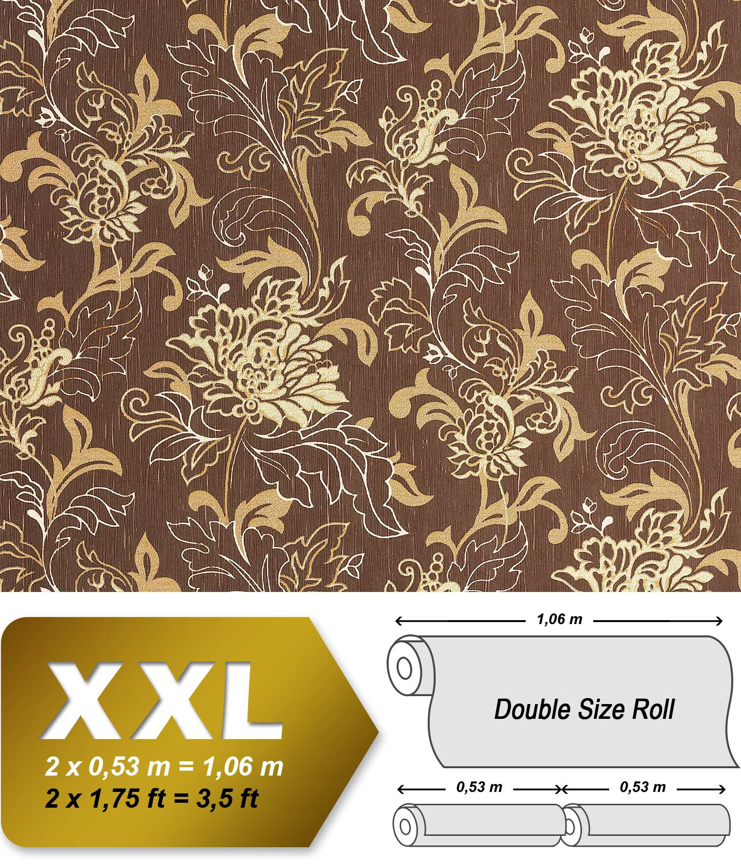 Floral Textured XXL Wallpaper Wall EDEM 604 94 Non Woven Wallcovering Flowers Brown Cream Beige Gold