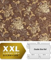 Floral textured XXL wallpaper wall EDEM 604-94 non-woven wallcovering flowers brown cream beige gold