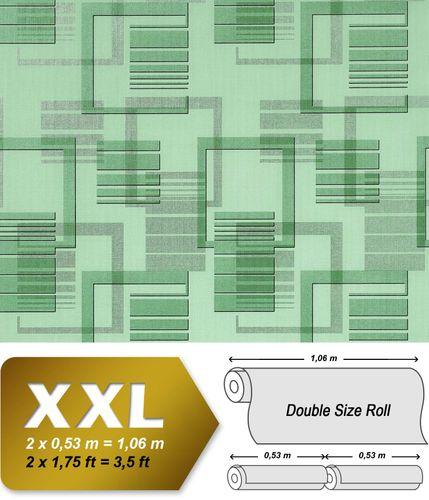 Grafische Muster Retro Tapete Vliestapete EDEM 609-95 Tapete XXL Design grafische 3D Muster retro abstrakt grün mint silber grau 10,65 qm – Bild 1