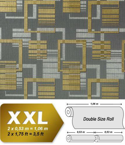 Grafische Muster Retro Tapete Vliestapete EDEM 609-96 70er Tapete XXL Designer 3D Retro Muster abstrakt grau silber gold 10,65 qm – Bild 1