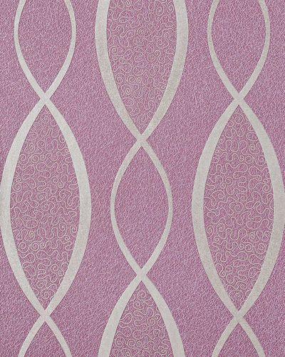 Retro Tapete EDEM 1018-14 Retrotapete Geschwungene Linien mit Ornamenten 70er Retro Style dezent glitzernd violett flieder silber – Bild 1