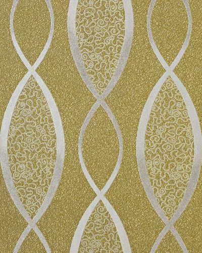 70s style textured vinyl wallcovering wallpaper fashion stripes curved lines retro EDEM 1018-15 olive green silver – Bild 1