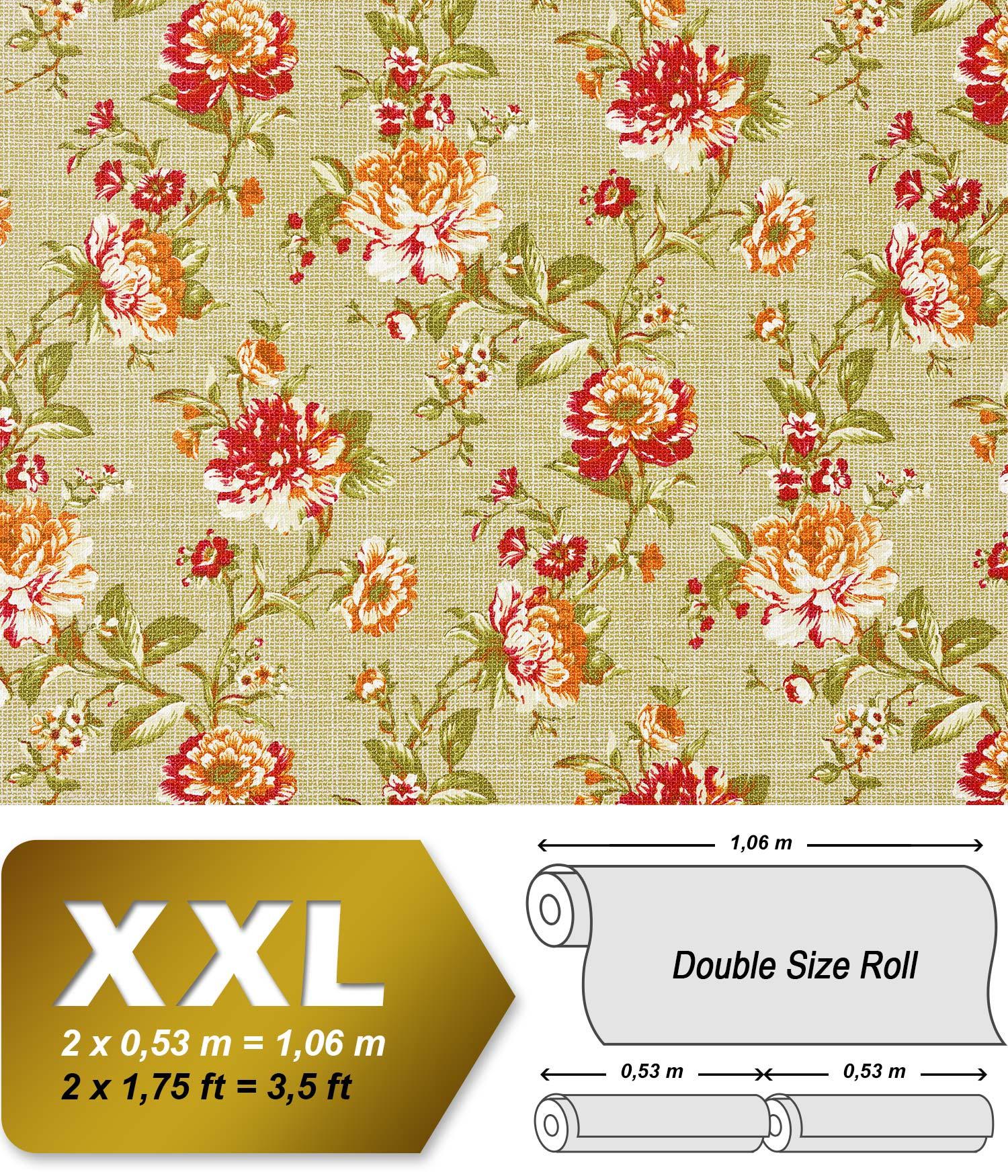 edem 603 95 vliestapete xxl florales muster blumen gr n rot orange 10 65 qm. Black Bedroom Furniture Sets. Home Design Ideas