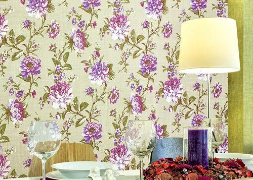 Blumen Tapete Vliestapete EDEM 603-95 XXL Floral Blätter-Muster Textilstruktur Retro grün olive rot orange 10,65 qm  – Bild 3
