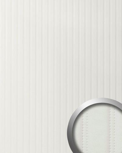 Revêtement mural de luxe WallFace 18601 Panneau mural autoadhésif Dessin cuir matelassé en rayures similicuir capitonné blanc mat 2,60 m2  – Bild 1