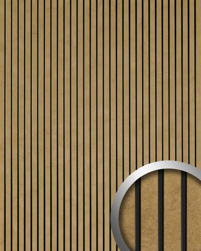 Revestimiento autoadhesivo aspecto metal WallFace 18582 PIANO Golden Age vintage rayas longitudinales doradas y junturas negras | 2,60 m2 – Imagen 1