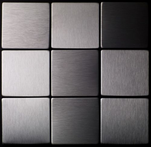 Mosaik Fliese massiv Metall Edelstahl gebürstet in grau 1,6mm stark ALLOY Attica-S-S-B 0,85 m2 – Bild 4