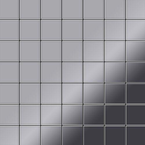Mosaïque métal massif Carrelage Acier inoxydable Marine miroir gris Grosseur 1,6mm ALLOY Attica-S-S-MM 0,85 m2 – Bild 1