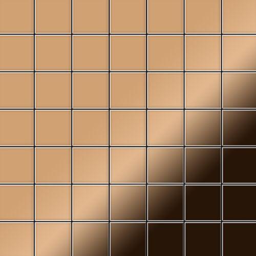 Mosaik Fliese massiv Metall Titan hochglänzend in kupfer 1,6mm stark ALLOY Attica-Ti-AM 0,85 m2 – Bild 1
