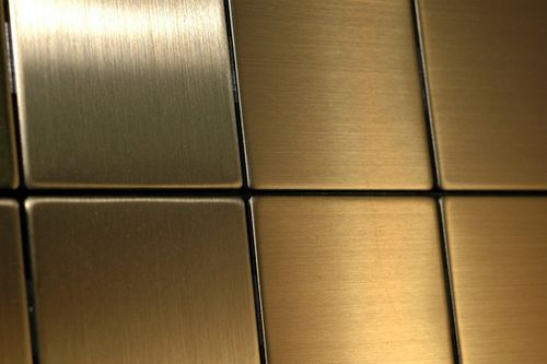 Mosaik Fliese massiv Metall Titan gebürstet in gold 1,6mm stark ALLOY Attica-Ti-GB 0,85 m2 – Bild 7