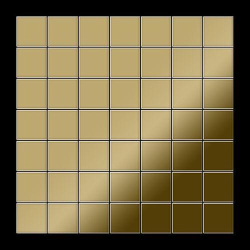 Mosaik Fliese massiv Metall Titan hochglänzend in gold 1,6mm stark ALLOY Attica-Ti-GM 0,85 m2 – Bild 3