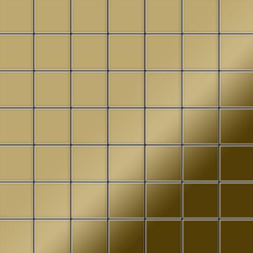 Mosaik Fliese massiv Metall Titan hochglänzend in gold 1,6mm stark ALLOY Attica-Ti-GM 0,85 m2 – Bild 1