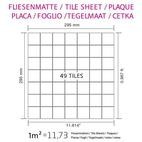 Mosaico metallo solido Titanio specchiato Smoke grigio scuro spesso 1,6 mm ALLOY Attica-Ti-SM – Bild 7