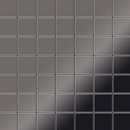 Mosaik Fliese massiv Metall Titan hochglänzend in dunkelgrau 1,6mm stark ALLOY Attica-Ti-SM 0,85 m2 – Bild 1