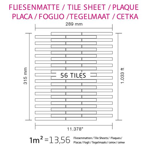 Azulejo mosaico de metal sólido Acero inoxidable cepillado gris 1,6 mm de grosor ALLOY Avenue-S-S-B 0,74 m2 – Imagen 4