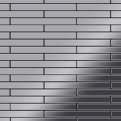 Mosaik Fliese massiv Metall Edelstahl marine hochglänzend in grau 1,6mm stark ALLOY Avenue-S-S-MM 0,74 m2 – Bild 1