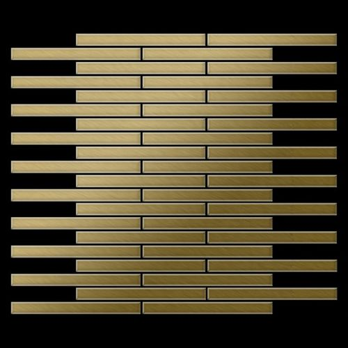 Mosaik Fliese massiv Metall Titan gebürstet in gold 1,6mm stark ALLOY Avenue-Ti-GB 0,74 m2 – Bild 3