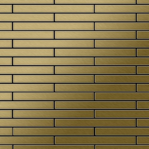 Mosaik Fliese massiv Metall Titan gebürstet in gold 1,6mm stark ALLOY Avenue-Ti-GB 0,74 m2 – Bild 1