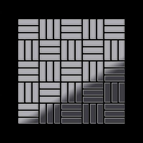 Mozaïektegels massief metaal roestvrij staal hoogglanzend grijs 1,6 mm dik ALLOY Basketweave-S-S-M – Bild 3