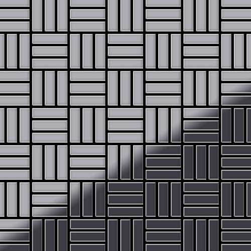 Mozaïektegels massief metaal roestvrij staal Marine hoogglanzend grijs 1,6 mm dik ALLOY Basketweave-S-S-MM  – Bild 1