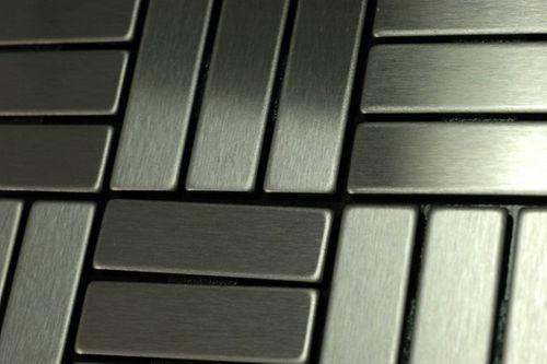 Mozaïektegels massief metaal roestvrij staal Marine geborsteld grijs 1,6 mm dik ALLOY Basketweave-S-S-MB  – Bild 5