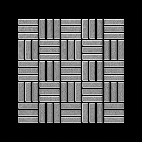 Mozaïektegels massief metaal roestvrij staal Marine geborsteld grijs 1,6 mm dik ALLOY Basketweave-S-S-MB  – Bild 3