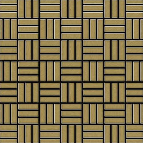 Mosaik Fliese massiv Metall Titan gebürstet in gold 1,6mm stark ALLOY Basketweave-Ti-GB 0,82 m2 – Bild 1