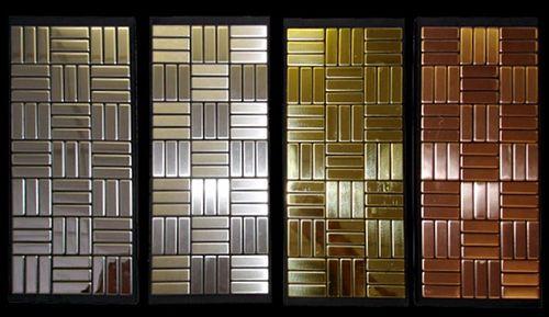 Mosaik Fliese massiv Metall Titan hochglänzend in gold 1,6mm stark ALLOY Basketweave-Ti-GM 0,82 m2 – Bild 4