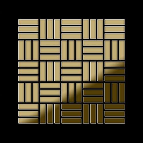 Mosaico metallo solido Titanio specchiato Gold oro spesso 1,6 mm ALLOY Basketweave-Ti-GM – Bild 3